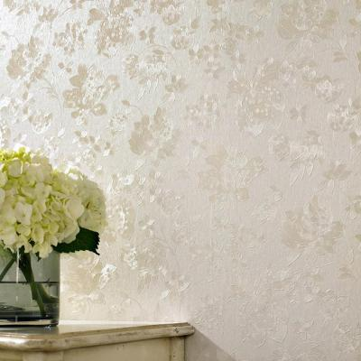 Cream Shimmer Floral Silk Wallpaper