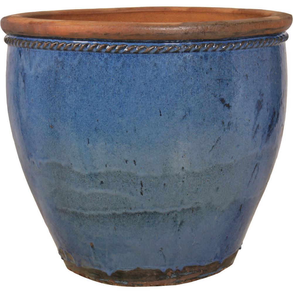 33 In Sky Blue Ceramic Escala Planter Agr 64d Sbrp The Home Depot
