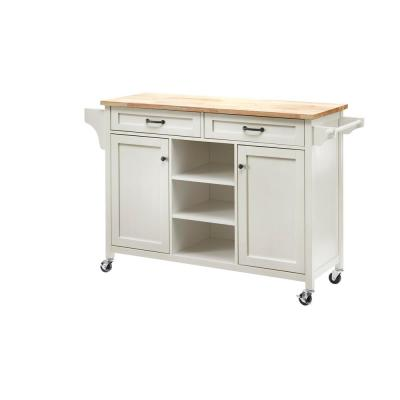 Rockford White Wood Kitchen Island with Natural Butcher Block Top (56.25 in. W x 36 in. H)