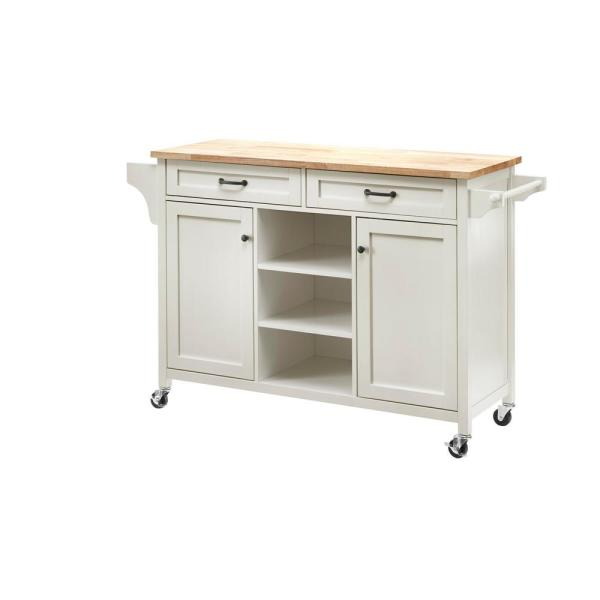 Rockford White Kitchen Cart with Butcher Block Top
