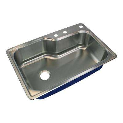 Meridian Drop-In Stainless Steel 33 in. 3-Hole Single Bowl Kitchen Sink in Brushed Stainless Steel