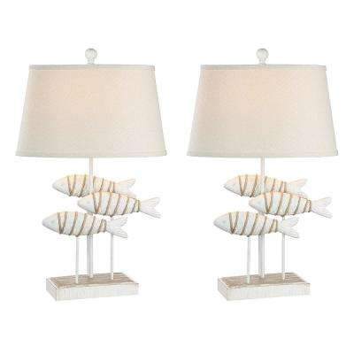 29 in. Antique White Indoor Table Lamp Set