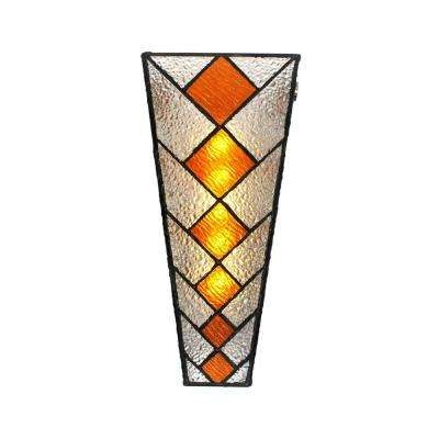 Wall Mounted Indoor/Outdoor 5-LED Multi-Colored Wall Sconce Stained Glass with Amber Diamond Shapes and Battery Operated