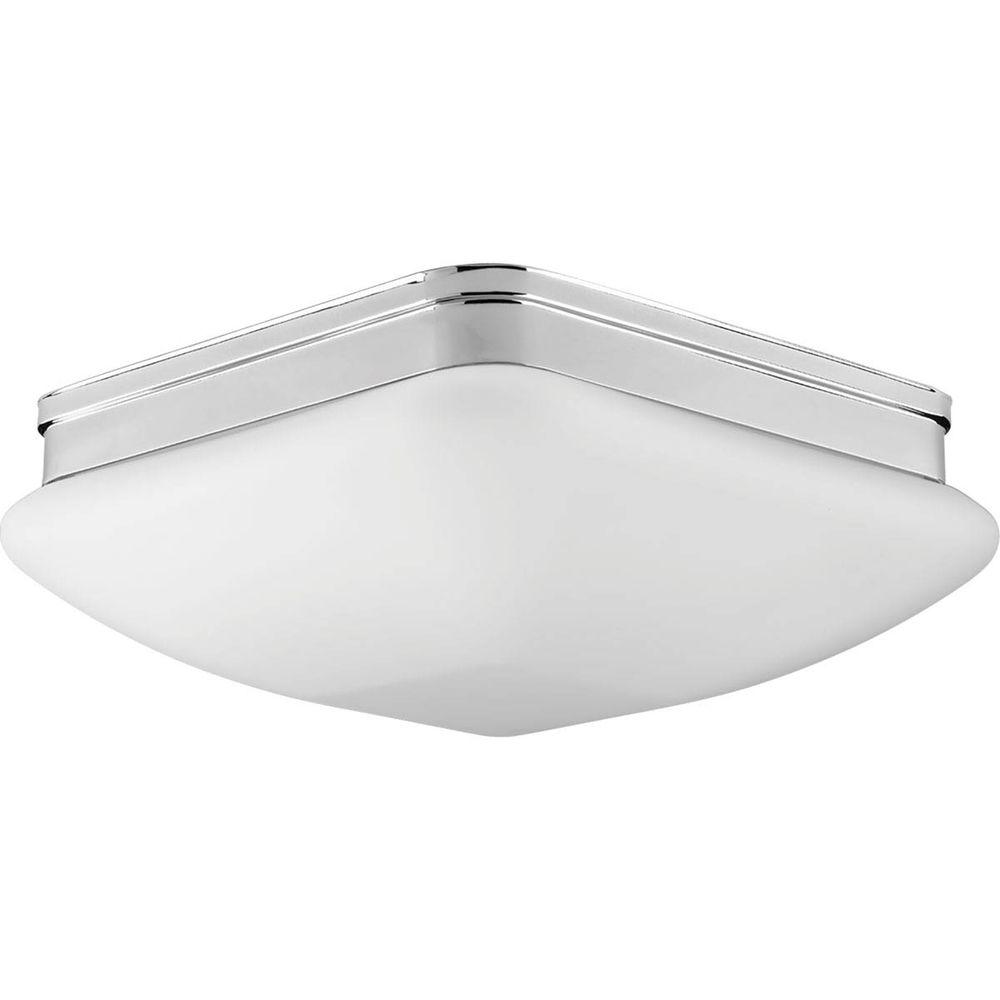 Progress Lighting Appeal Collection 3 Light Polished Chrome Flushmount With Square Opal Glass P3992 15
