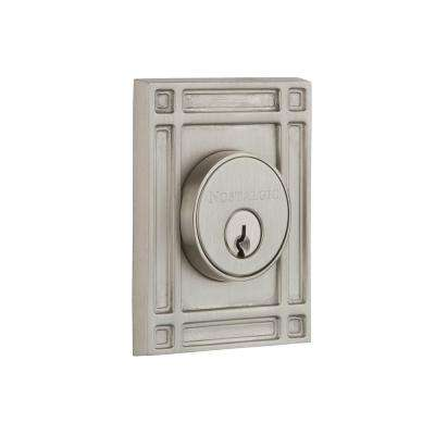 Mission Plate 2-3/8 in. Backset Double Cylinder Deadbolt in Satin Nickel