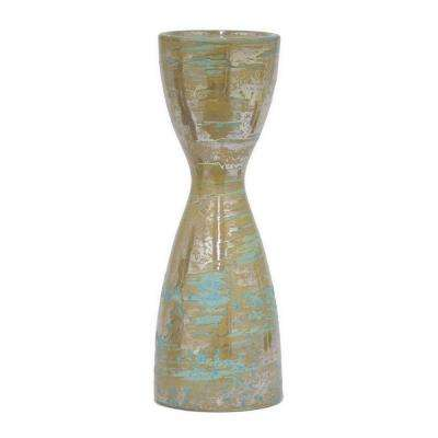 12 in. Decorative Gold And Blue Ceramic Candle Holder