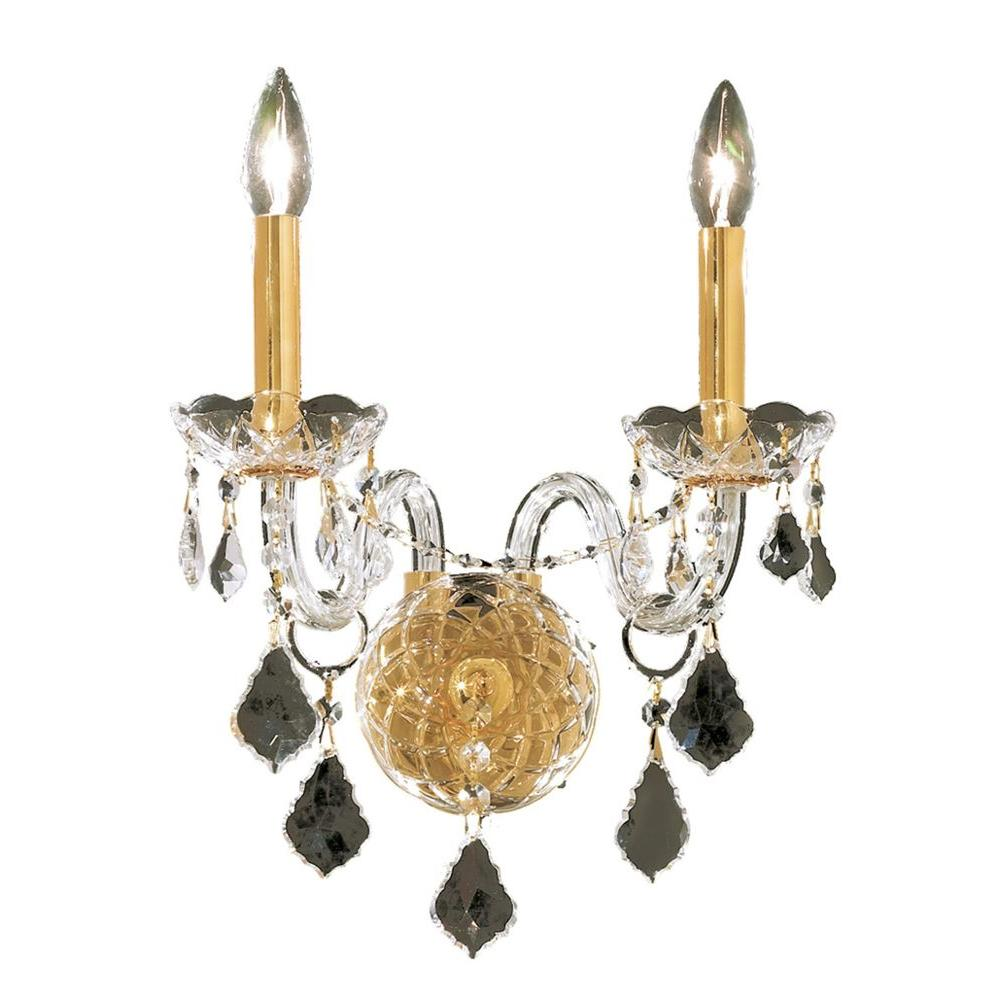 Elegant Lighting 2-Light Gold Sconce with Crystal Clear Crystal