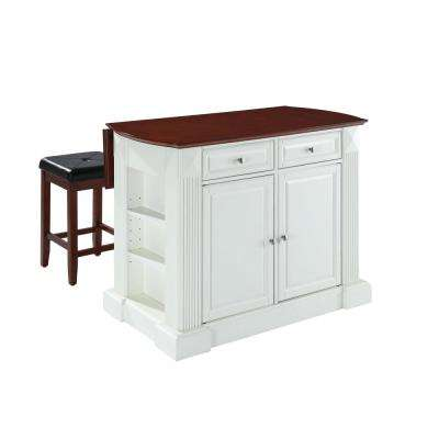 Coventry White Kitchen Island with Stools