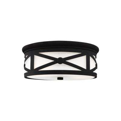Lakeview Black 2-Light Outdoor Flush Mount
