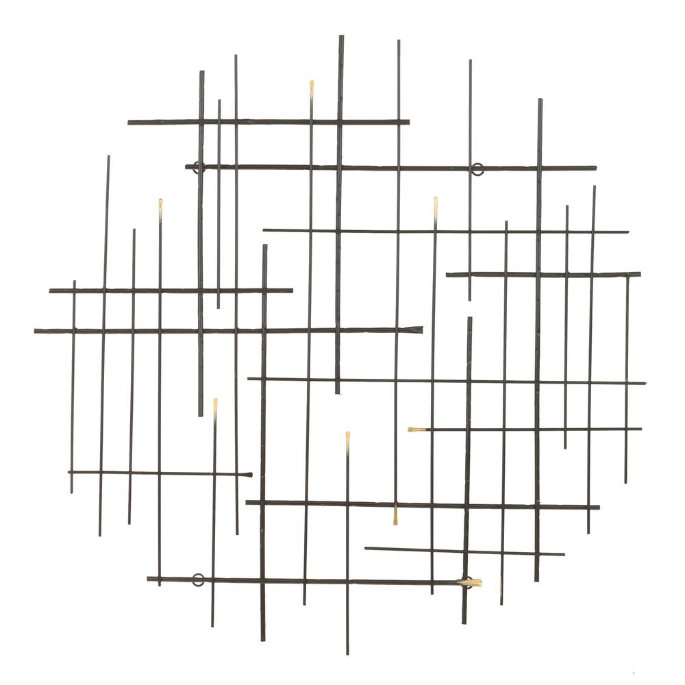 Aspire Home Accents Arwen Metal Glossy Black Modern Wall Decor, Glossy black finish with gold accents was $99.0 now $55.38 (44.0% off)