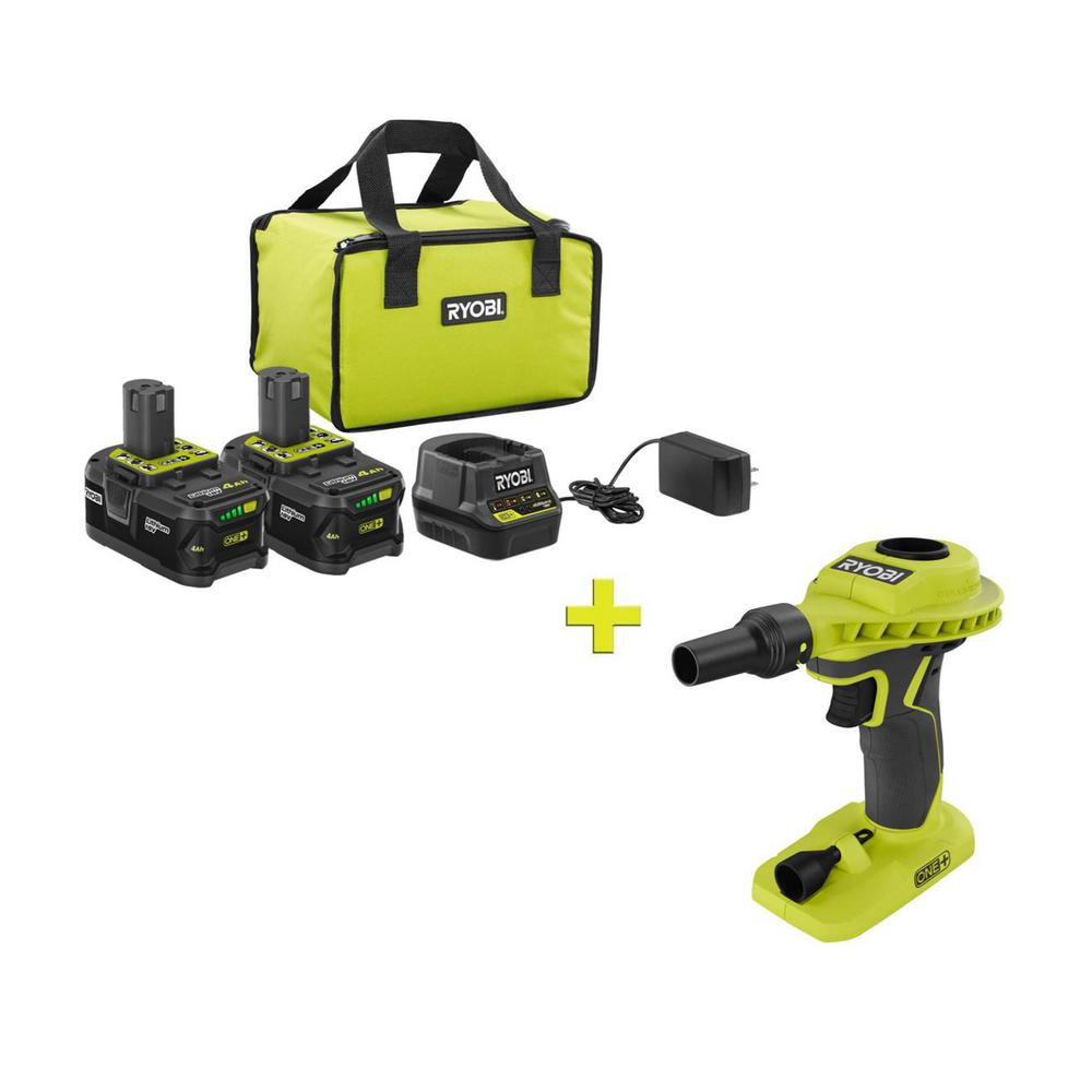 RYOBI 18-Volt ONE+ High Capacity 4.0 Ah Battery (2-Pack) Starter Kit with Charger and Bag with FREE ONE+ Inflator/Deflator was $251.97 now $99.0 (61.0% off)
