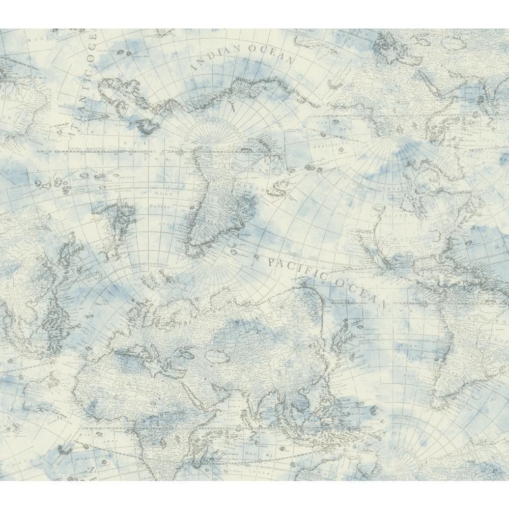 York Wallcoverings Nautical Living Coastal Map Wallpaper