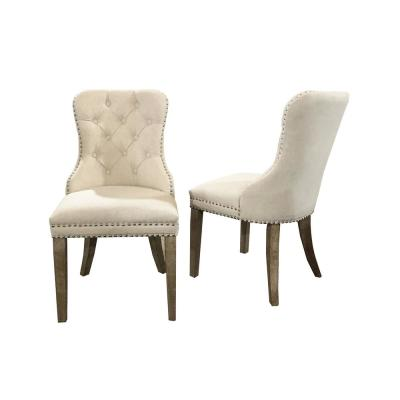 Beige Tufted Armless Upholstered Dining Chair (Set of 2)