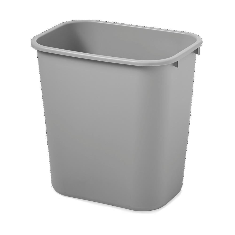 7 gal. Gray Rectangular Deskside Trash Can