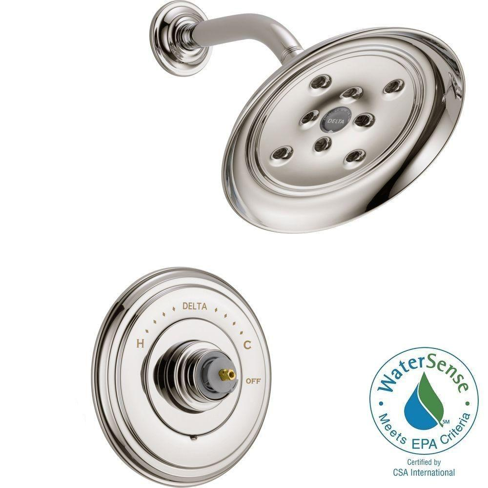 Delta Cassidy 14 Series 1-Handle Shower Faucet Trim Kit Only in Polished Nickel (Valve and Handles Not Included)