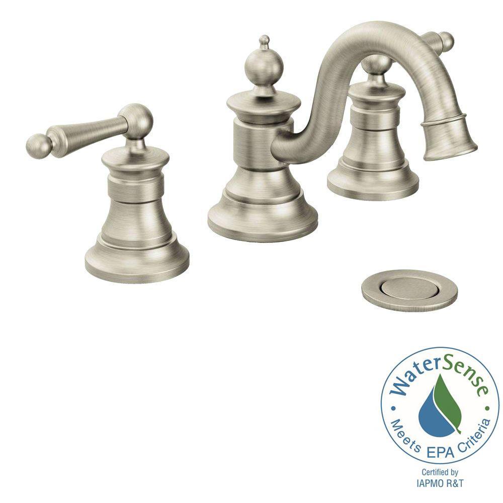 MOEN Waterhill 8 in. Widespread 2-Handle High-Arc Bathroom Faucet ...