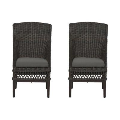 Woodbury Dark Brown Wicker Outdoor Patio Dining Chair with CushionGuard Graphite Dark Gray Cushions (2-Pack)