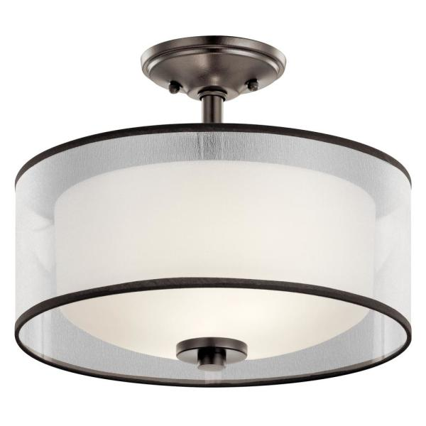Tallie 2-Light Mission Bronze Semi-Flush Mount Ceiling Light with Translucent Organza Outer Shade