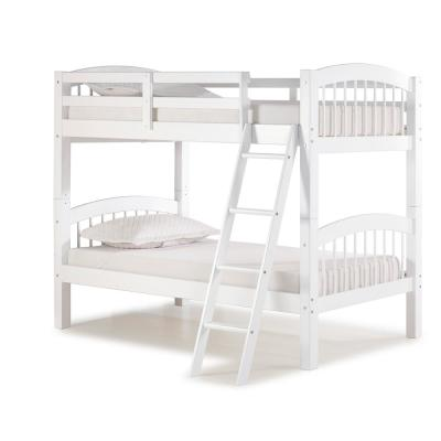 Spindle White Twin Over Twin Wood Bunk Bed