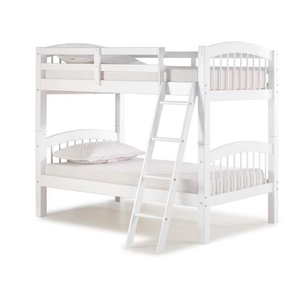 Spindle White Twin Over Wood Bunk Bed