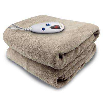 4460 Series Linen in Color 1-Size 50 in. x 62 in. Micro Plush Heated Throw