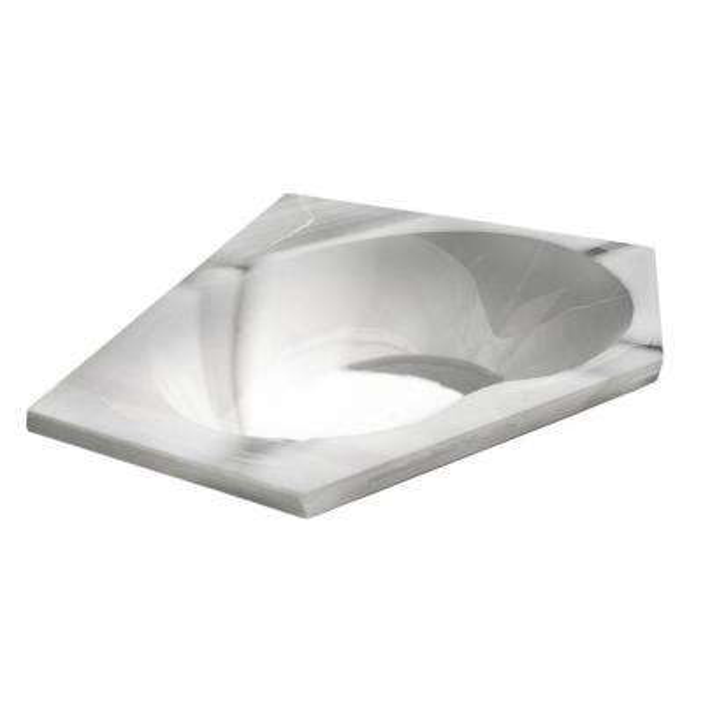 Quartz 5 ft. Acrylic Center Drain Corner Drop-in Non-Whirlpool Bathtub in White