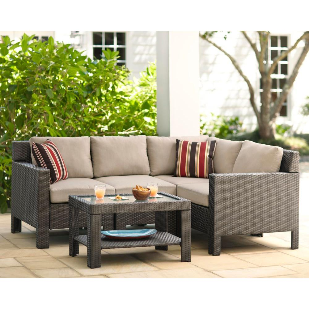 Hampton Bay Beverly 5 Piece Patio Sectional Seating Set With Beverly Beige  Cushions