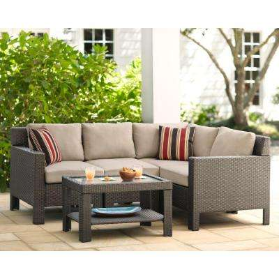 Beverly 5 Piece Patio Sectional Seating Set With Beverly Beige Cushions