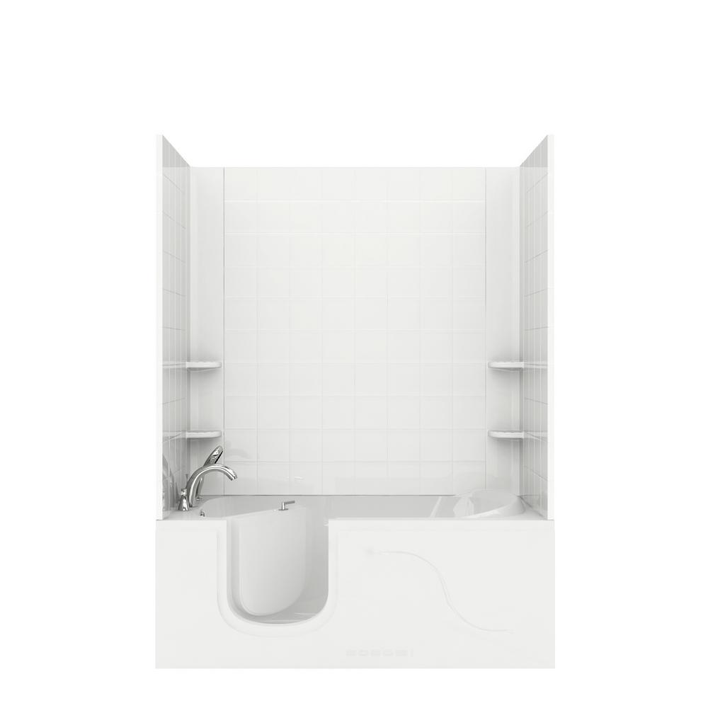 Universal Tubs Rampart 5 ft. Walk-in Air Bathtub with 6 in. Tile Easy Up Adhesive Wall Surround in White was $3545.99 now $2659.49 (25.0% off)