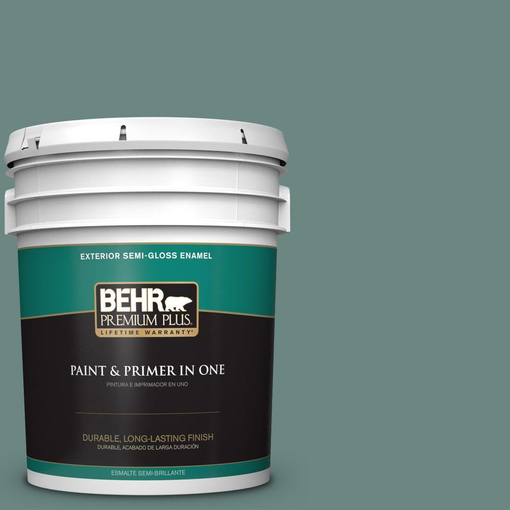 5-gal. #480F-5 Marsh Creek Semi-Gloss Enamel Exterior Paint
