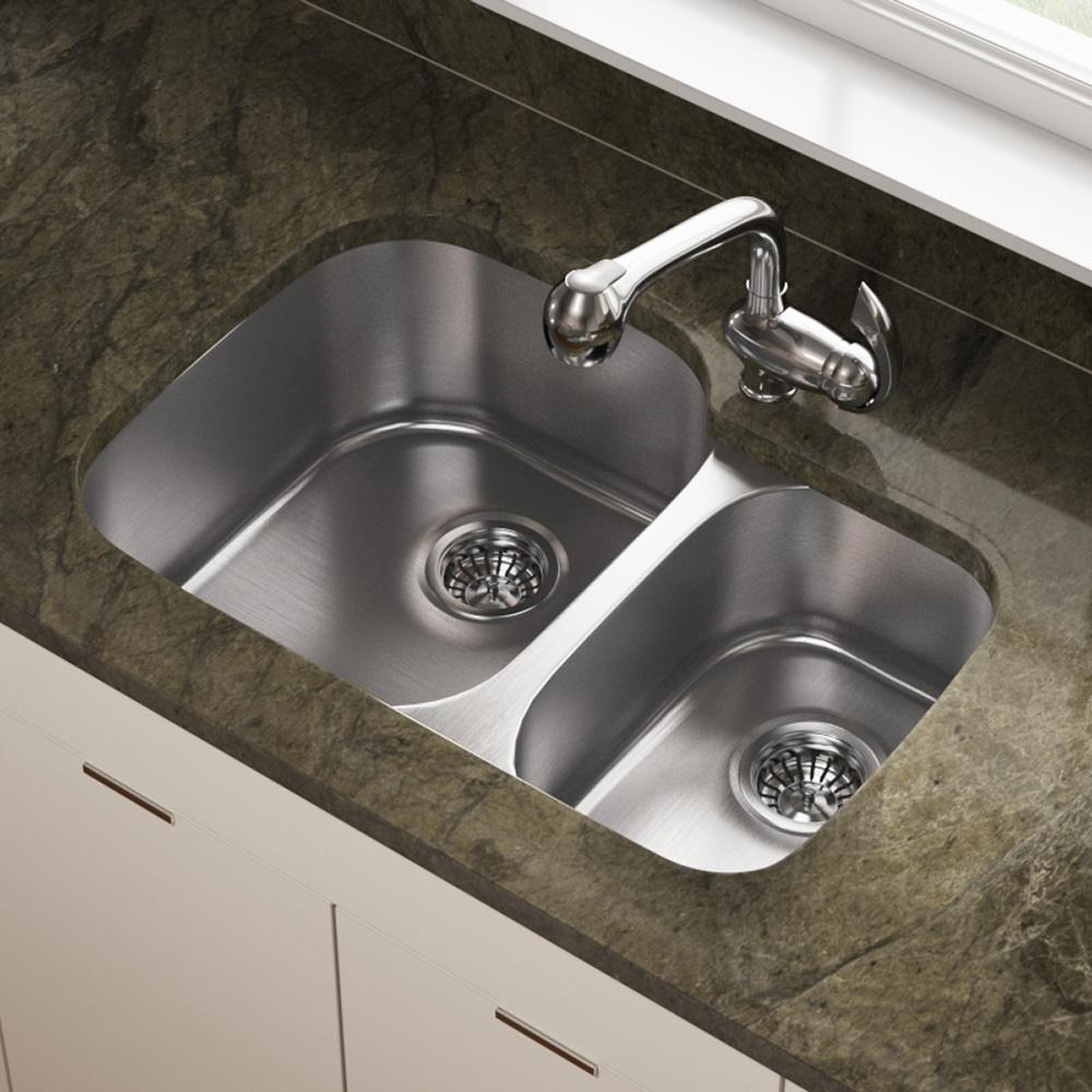 MR Direct Undermount Stainless Steel 29 in. Double Bowl Kitchen Sink
