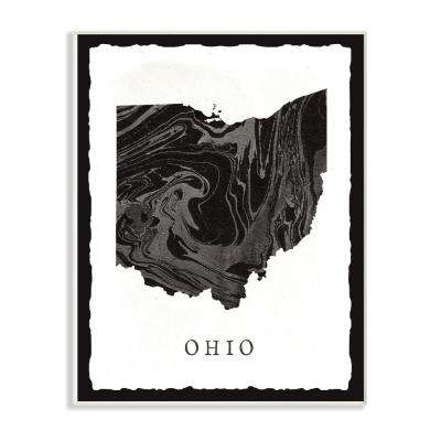 "12.5 in. x 18.5 in. ""Black and Grey Marbled Paper Ohio State Silhouette"" by Artist Daphne Polselli Wood Wall Art"