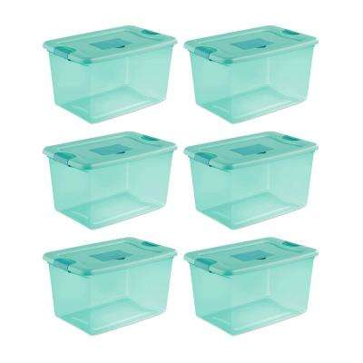 64 Qt. Fresh Scent Stackable Plastic Storage Box Container (6-Pack)