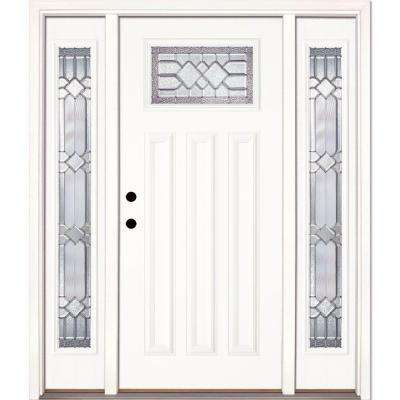 67.5 in.x81.625in.Mission Pointe Zinc Craftsman Unfinished Smooth Right-Hand Fiberglass Prehung Front Door w/ Sidelites