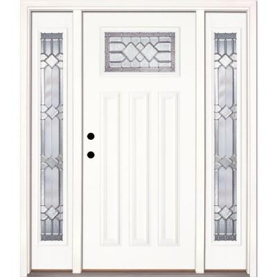63.5 in.x81.625in.Mission Pointe Zinc Craftsman Unfinished Smooth Right-Hand Fiberglass Prehung Front Door w/ Sidelites