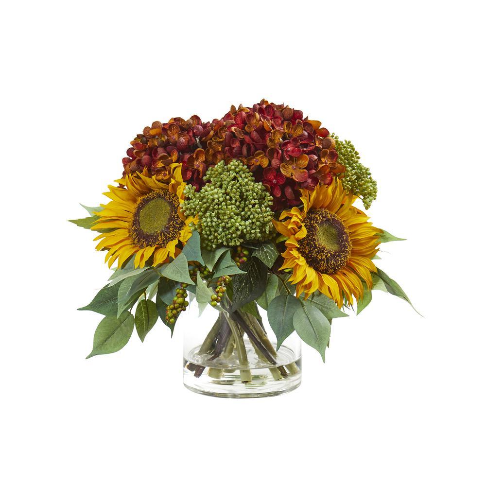 Nearly Natural 11 in. Sunflower and Hydrangea Artificial Arrangement A1122-RU
