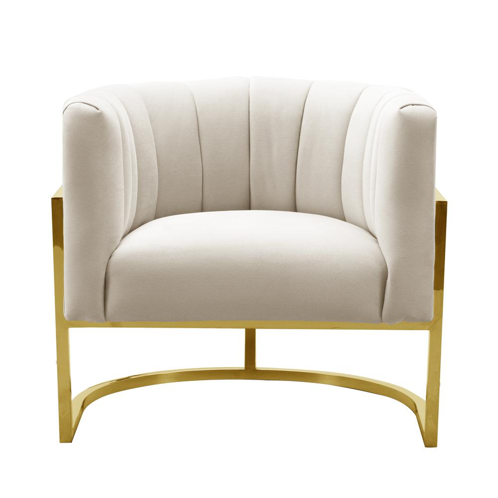Incroyable TOV Furniture Magnolia Spotted Cream Chair With Gold Base