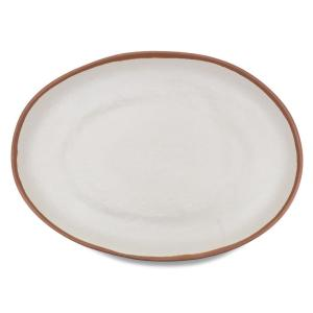 Potter 18 in. x 13 in. Melamine Bamboo Oval Platter in Terracotta Brown