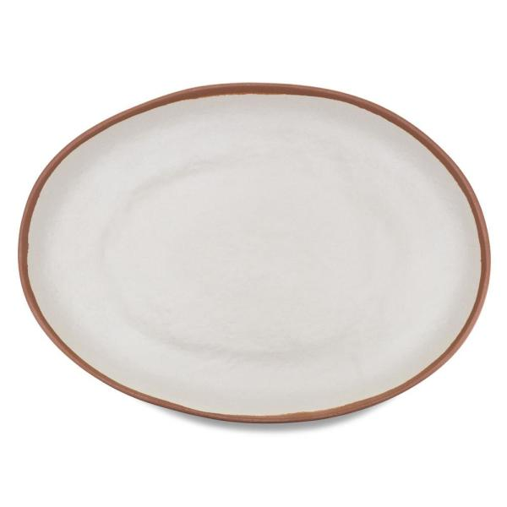 Potter 18 in  x 13 in  Melamine Bamboo Oval Platter in Terracotta Brown