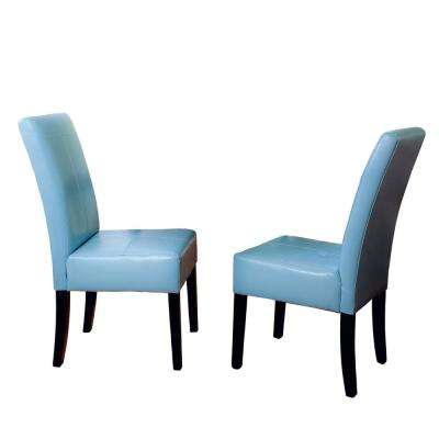 Pertica Teal Blue Leather T-Stitch Dining Chairs (Set of 2)