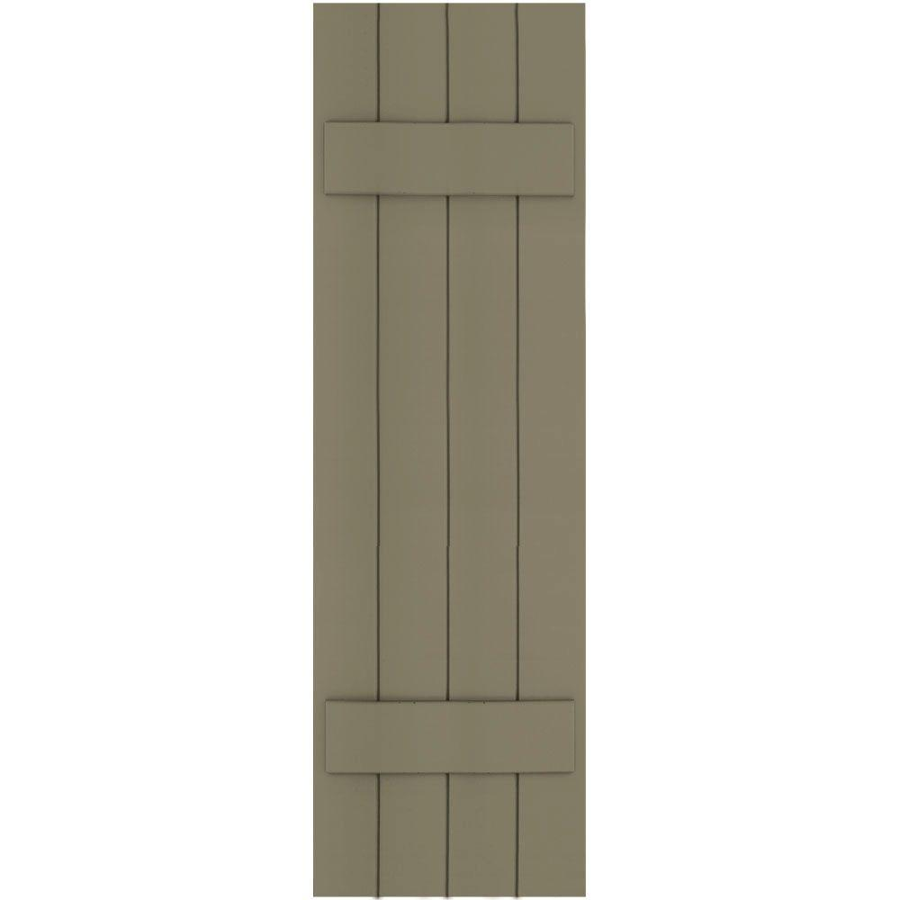 Winworks Wood Composite 15 in. x 51 in. Board & Batten Shutters Pair #660 Weathered Shingle