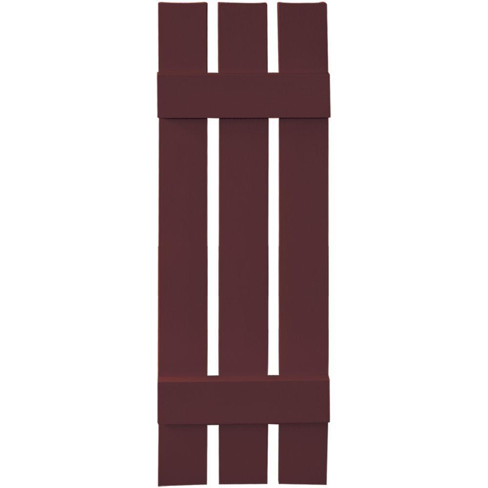 Builders Edge 12 in. x 39 in. Board-N-Batten Shutters Pair, 3 Boards Spaced #167 Bordeaux