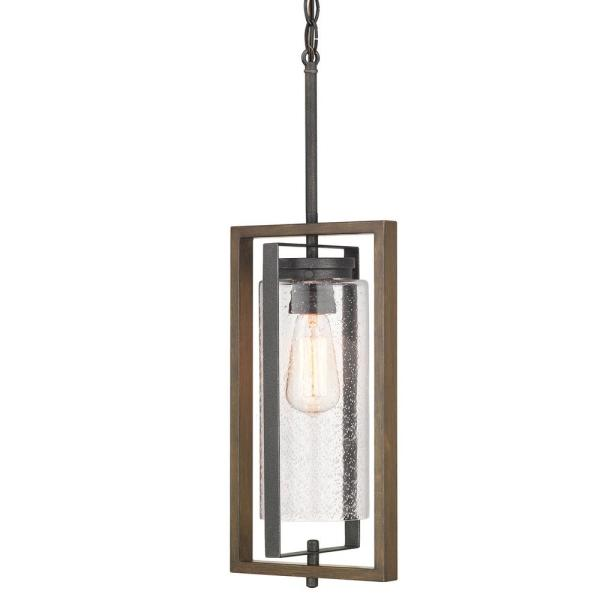 Palermo Grove Gilded Iron 1-Light Hanging Outdoor Lantern with Walnut Wood Accents