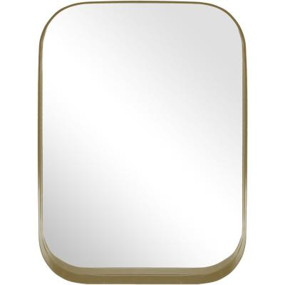 Medium Rectangle Gold Modern Accent Mirror with Rounded Corners (32 in. H x 24 in. W)