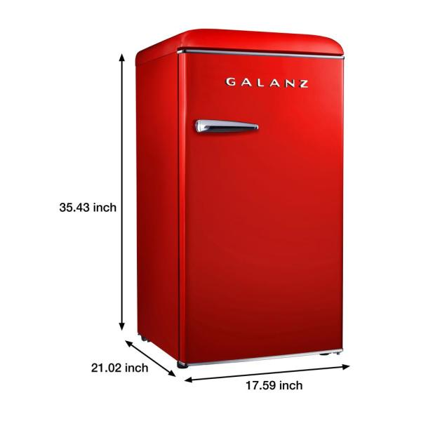Galanz 3 3 Cu Ft Retro Mini Fridge Single Door In Hot Rod Red With Chiller Energy Star Glr33mrdr10 The Home Depot