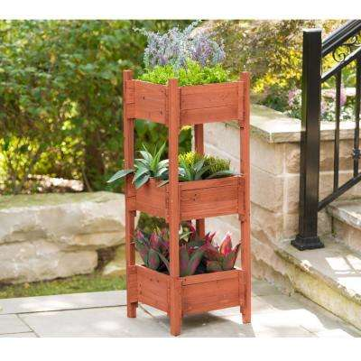 18 in. W x 47 in. H Wooden 3-Tier Planter Box