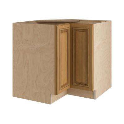 Clevedon Assembled 36x34.5x24 in. Easy Reach Super Susan Hinge Right Base Kitchen Corner Cabinet in Toffee Glaze