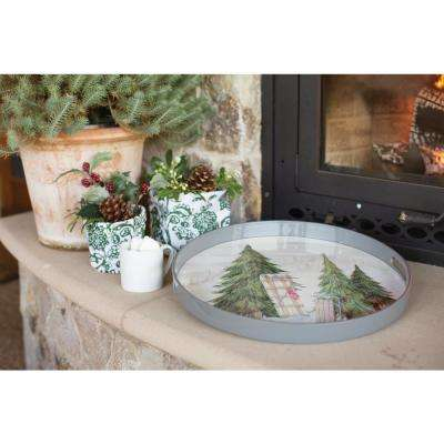 Snow Day Cream Lacquer Decorative Round Tray