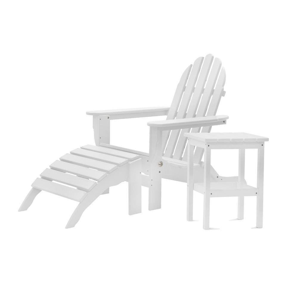Icon White 3-Piece Plastic Folding Adirondack Chair