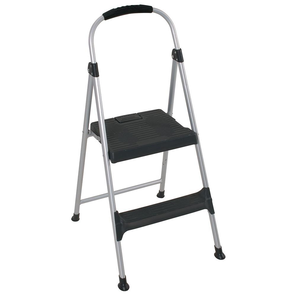 Cosco 318 Ft 2 Step Aluminum Step Stool Ladder With Plastic Steps 225 Lb Load Capacity